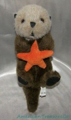 "Rare STUFFED ANIMAL HOUSE Plush 16"" Brown REALISTIC LIFELIKE OTTER w/Starfish"