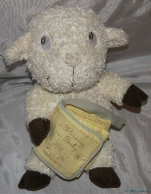 """HALLMARK BABY Plush 14"""" Chenille LAMB w/ A BLESSING FOR BABY Soft Christian Book"""