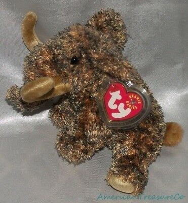 """NEW 2001 TY BEANIE BABIES Plush Chenille 7"""" GIGANTO The WOOLLY MAMMOTH Elephant"""