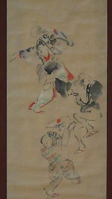EARLY 20c JAPANESE WATERCOLOR AND SUMI INK PAINTING ON RICE PAPER OF MEN DANCING