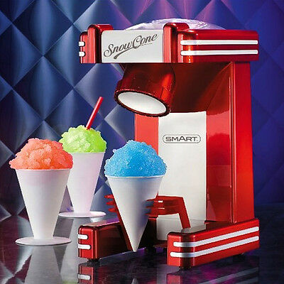 SMART 1950's American Diner Retro Style Ice Snow Cone Maker - Boxed Red Party