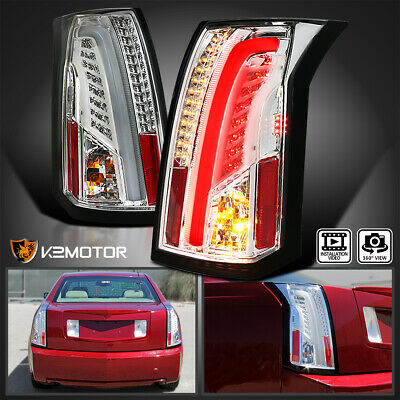 2003-2007 Cadillac CTS Chrome Clear LED Bar Tail Lights Brake Lamps Left+Right