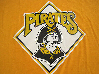 AMAZING!! early 80s vtg PITTSBURGH PIRATES T SHIRT gold 50/50 LARGE