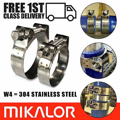 Pack of 2 Mikalor W4 304 Stainless Steel Clamps Car Exhaust Heavy Duty Pipe Clip