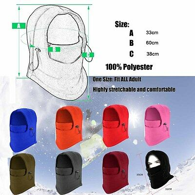 Fleece Thermal Balaclava Ski Snowboard Motorbike Biker Winter Mask Face Hood Hat
