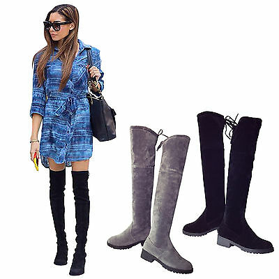 Womens Ladies Flat Low Heel Over The Knee High Suede Boots Lace Up Shoes