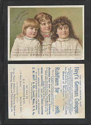 1880s RUBIFOAM FOR YOUR TEETH HOYTS GERMAN COLOGNE VICTORIAN TRADE CARD
