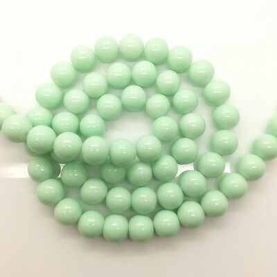 New 6mm 50pcs Light Green Glass Pearl Round Spacer Loose Beads Jewelry Making