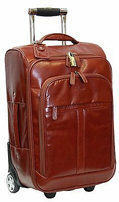 GENUINE Leather Suitcase Exclusive Travel Luggage Cabin Flight Weekend Bag Brown