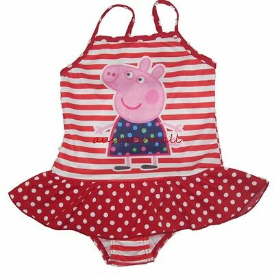 NEW Kids Girls Peppa Pig One Piece Swimwear Swimsuit Stripe Spot Tutu Bather