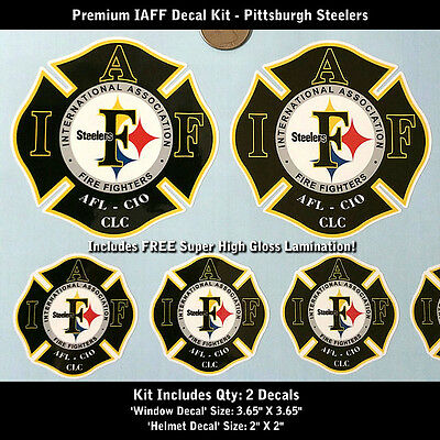 IAFF Firefighter Decals SET Pittsburgh Steelers Premium Quality Lamination 0046