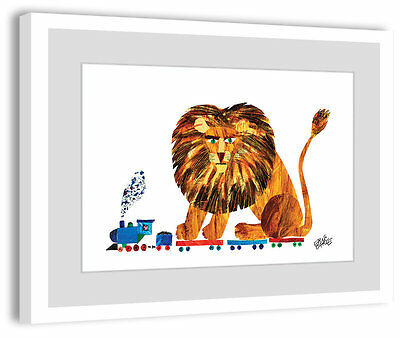 Marmont Hill 'Lion On A Train 2' by Eric Carle Framed Painting Print