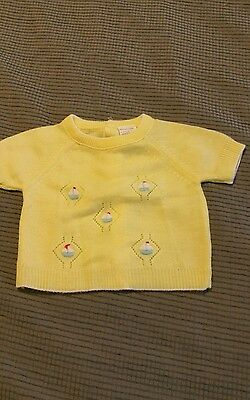 Vintage infant yellow knit sweater.  Newborn to 3 months