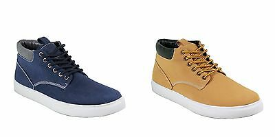 Men ARIDER Navy Tan lace up casual high top chukka shoes synthetic style BOB-01