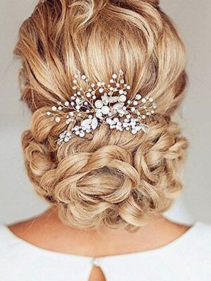 Venusvi Silvery Wedding Hair Combs with Bead and Rhinestones - Bridal Headpiece