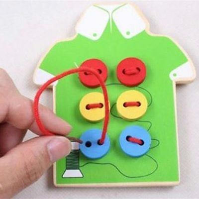 Montessori Early Educational Kids Baby Sew Buttons Tool Wooden Lacing Board Toys