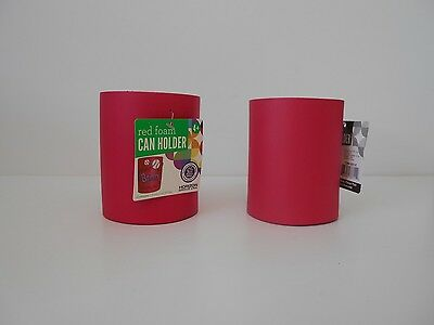 Red Foam Can Holders, SET OF 2 Plain, Thick Koozie Coozie Cozy, Craft Projects