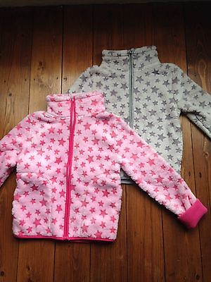 Girls Pink Grey Fleece Jacket Top Warm