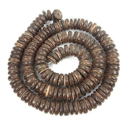 8mm Natural Coconut Heishi Rondelle Beads 16""