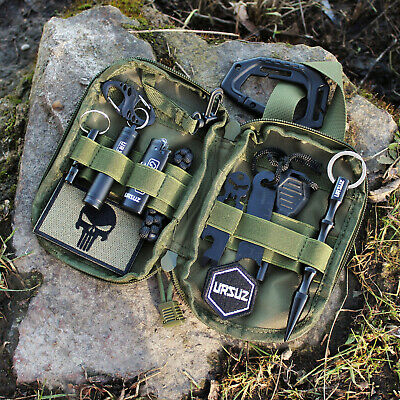 EDC Set Prepper Survival Tasche Kubotan Multitool Bushcraft Urbex Patch MOLLE
