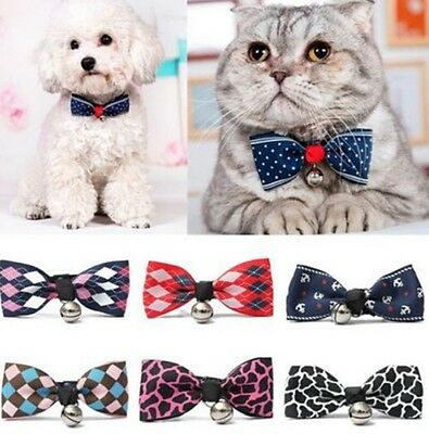 Pet Cat Dog BowTie Collar With Bell Adjustable Necklace Collar Puppy Bow Tie