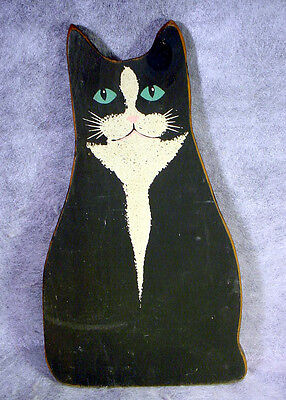 OX POND PRESS Hand Painted WOOD Wooden FOLK ART Primative BLACK CAT Wall Plaque