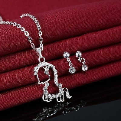 Beautiful horse necklace and earring set silver plated
