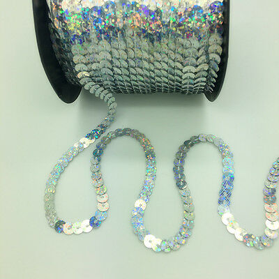 New 5 Yards 6mm Shiny Faceted Loose Sequins Paillettes Sewing Wedding Crafts #12