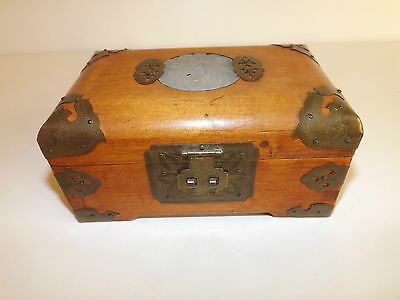 Vintage Chinese Hardwood Jewellery Box With Carved Jade Cabochon