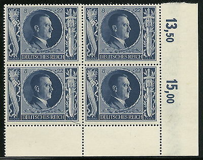 Germany Third Reich 1943 Hitler 54th Birthday 8+22pf Block Plate Fault Pos. 49**