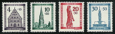 Post-WWII Germany 1949 French Zone Baden Freiburg Reconstruction Complete VF MNH