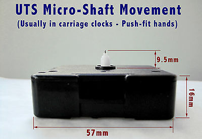 UTS quartz movement mechanism, CARRIAGE CLOCK MICRO-SHAFT MODEL, 10mm shaft