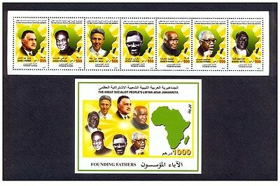 2007- Libya- Founding Fathers- Strip of 7 stamps and perforated minisheet