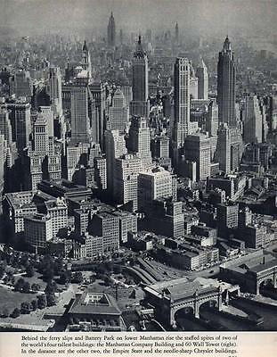 New York Manhattan Highrise Aerial  Photo From Book 1940s Era Rare