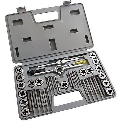 40 Piece Tap And Die Set Strong High Carbon Steel Construction In Storage Case