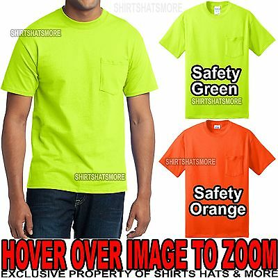 Mens TALL High Visibility POCKET T-Shirt Safety Green Orange Cotton/Poly LT-4XLT
