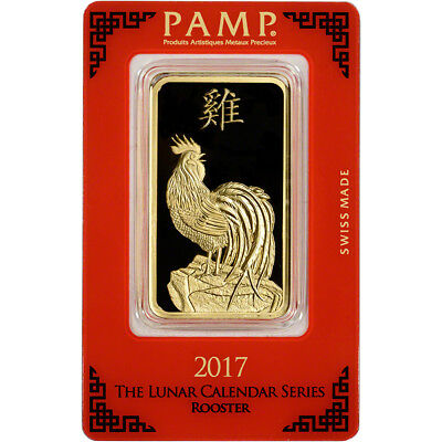 100 gram Gold Bar - PAMP Suisse - Lunar Year of the Rooster 999.9 Fine in Assay