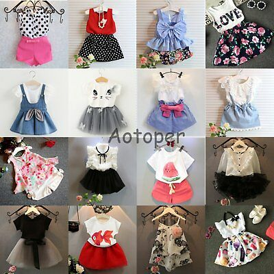 2PCS Toddler Kids Baby Girls Clothes T-shirt Tops+Pants/Shorts/Dress Outfits Set