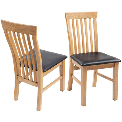 100% Solid Oak Dining Chairs Wood Chair Furniture Artificial Leather 2/4/6pcs