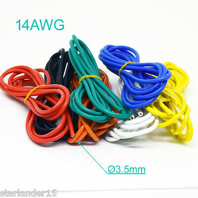 1M/3.3ft 14AWG Flexible Soft Silicone Wire Tin Copper RC Electronic Cable 8Color
