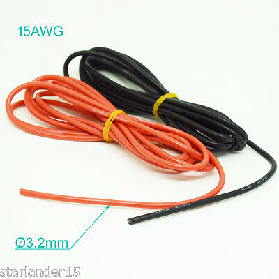 4 Meter 15AWG Flexible Soft Silicone Wire Tin Copper RC Electronic Cable 2 Color