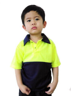 Kids Hi Vis Hi Viz Polo Work Shirt Pink Yellow and Orange