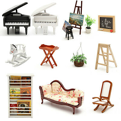 Miniature Vintage Doll House Wooden Furniture Living Room Accessory-Select Items