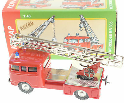 Mercedes Fire Truck Vehicle With Turntable Extending Ladder 1:43 Kovap Tin Toys