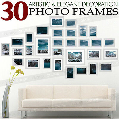 30PCS Silver Photo Frame Set Picture Home Wall Mounted Decor Birthday Present