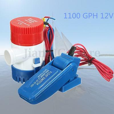 12V 1100GPH Boat Marine Submersible Bilge Water Pump + Float Switch For Yacht AU