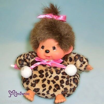 Japan Sekiguchi Monchhichi Bean Bag MCC Leopard Print 13cm Plush Brown