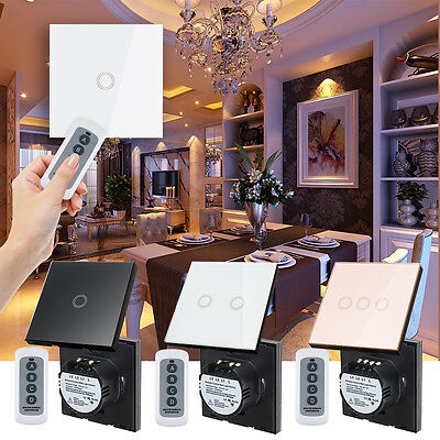 1/2/3 Gang 1 Way Smart Touch Wall Light Switch Glass Panel + Remote Controller