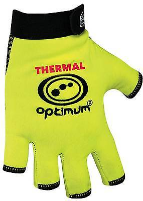 Optimum Rugby Stik Mitts Thermal Fluo Hand Protection Fingerless Glove Yellow Xl