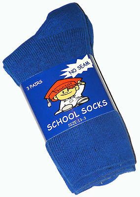 6 Pairs Boys Sz 13-3 Royal Blue Cotton School Socks